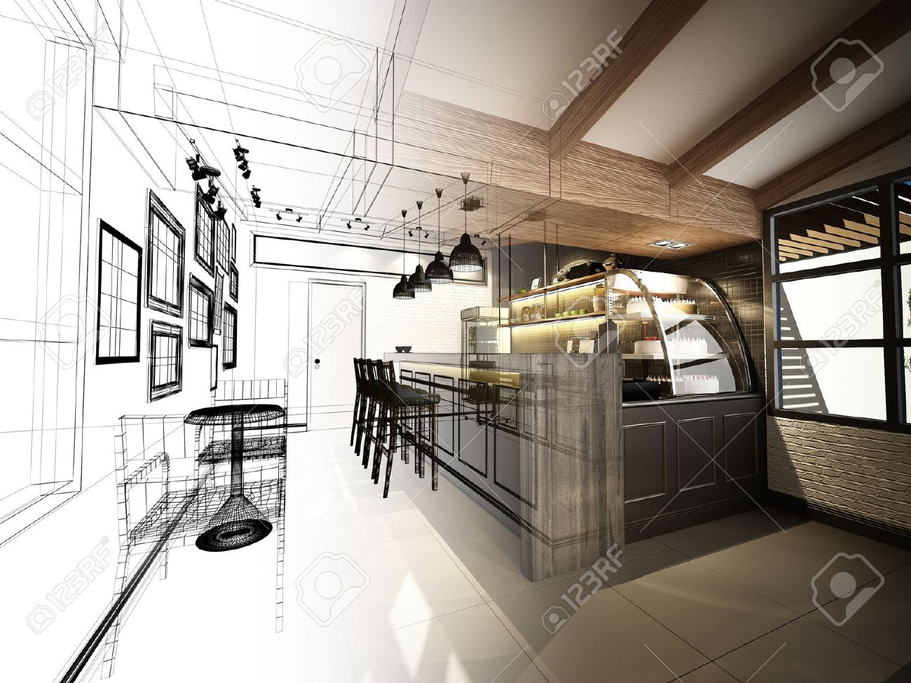 sketch design of coffee shop ,3dwire frame render - 43835166