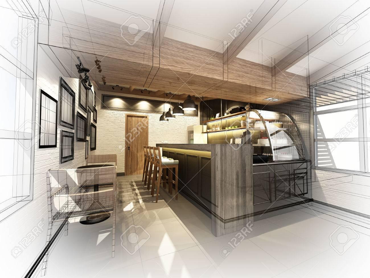 sketch design of coffee shop ,3dwire frame render - 43835173