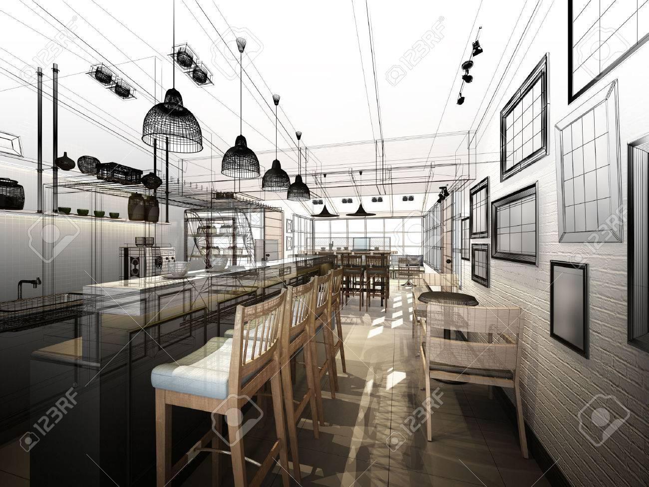 sketch design of coffee shop ,3dwire frame render - 43835177