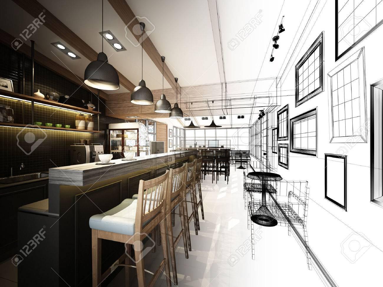 sketch design of coffee shop ,3dwire frame render - 43835181