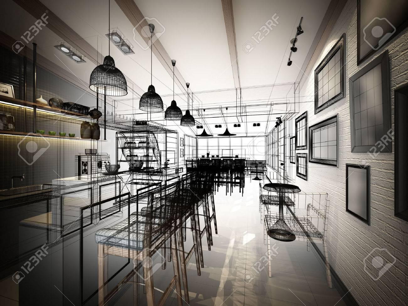 sketch design of coffee shop ,3dwire frame render - 43835182