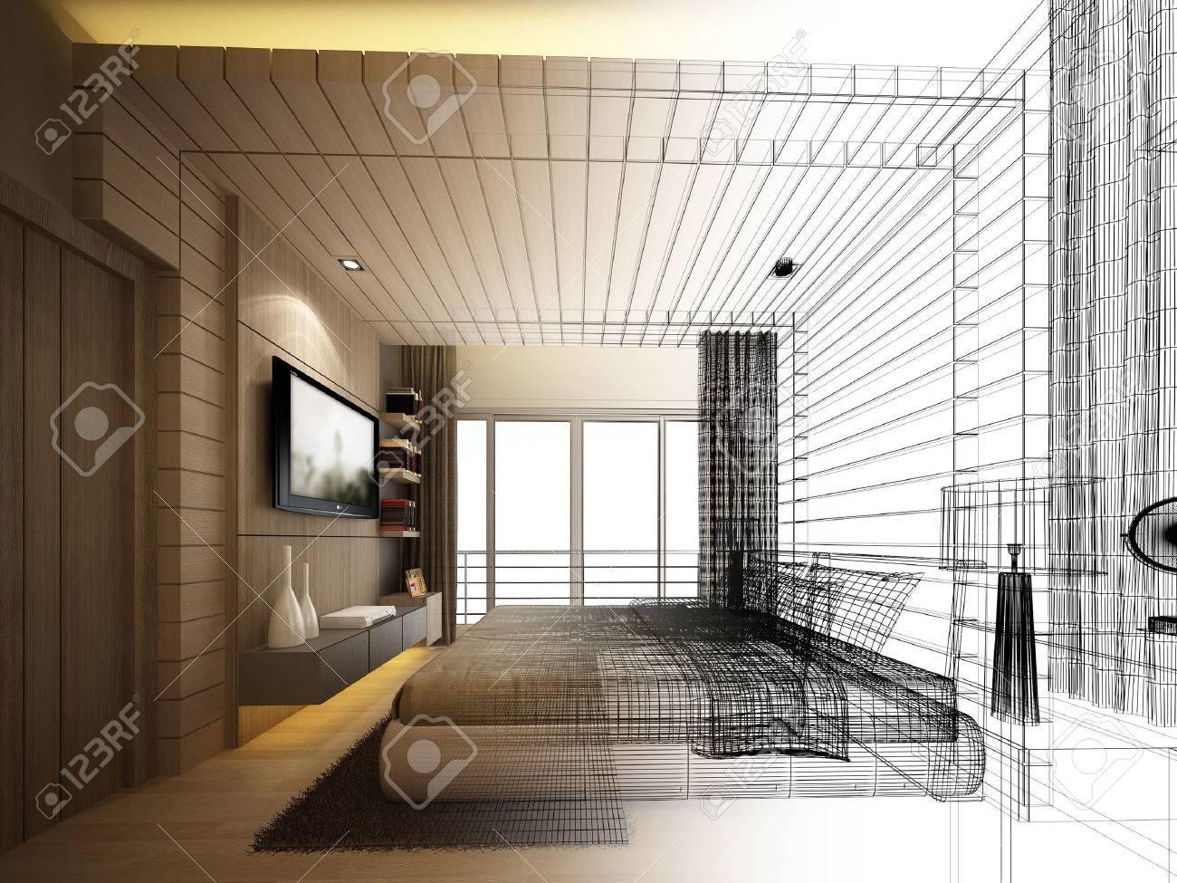 abstract sketch design of interior bedroom - 44148763