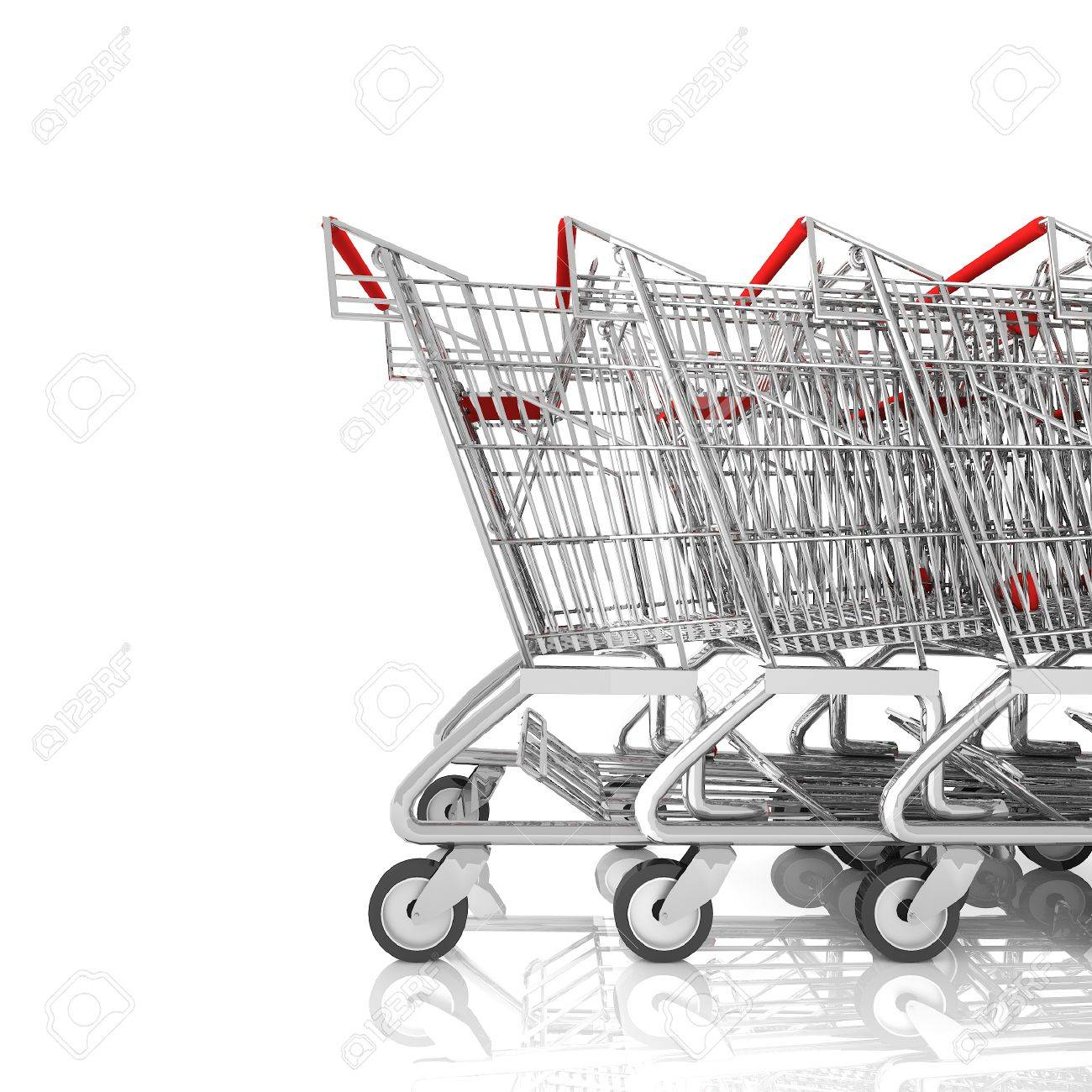 Shopping cart on a parking lot isolated on white,3d rendering - 46696124