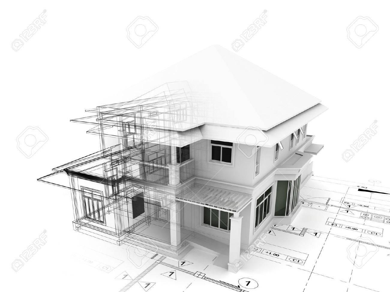 Rendering 3D di casa su piano Archivio Fotografico - 46696301