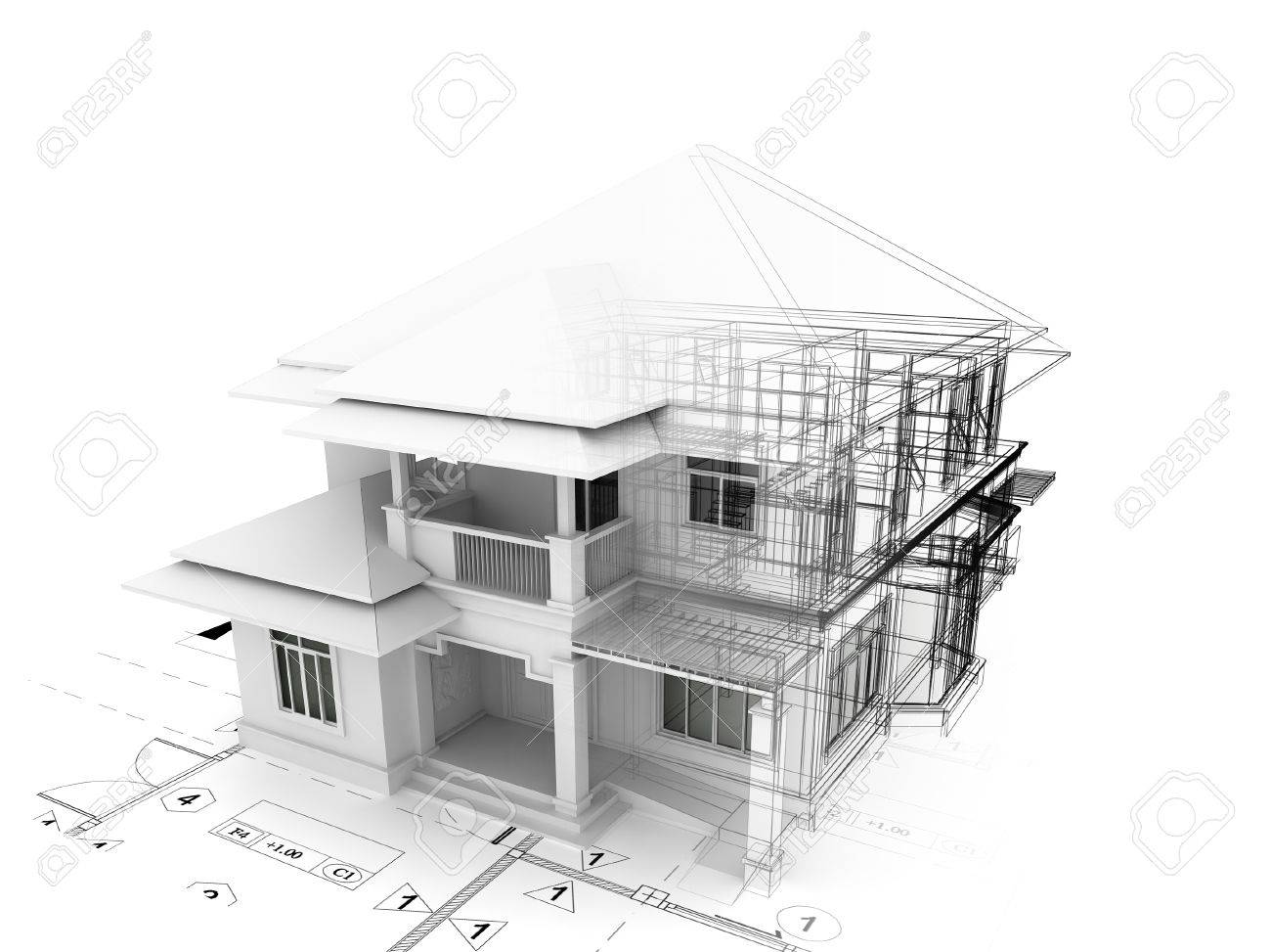 3d render of house on plan - 46696302