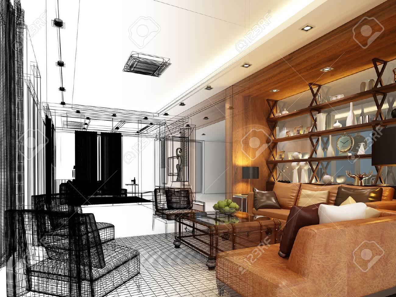 sketch design of interior living - 48205517