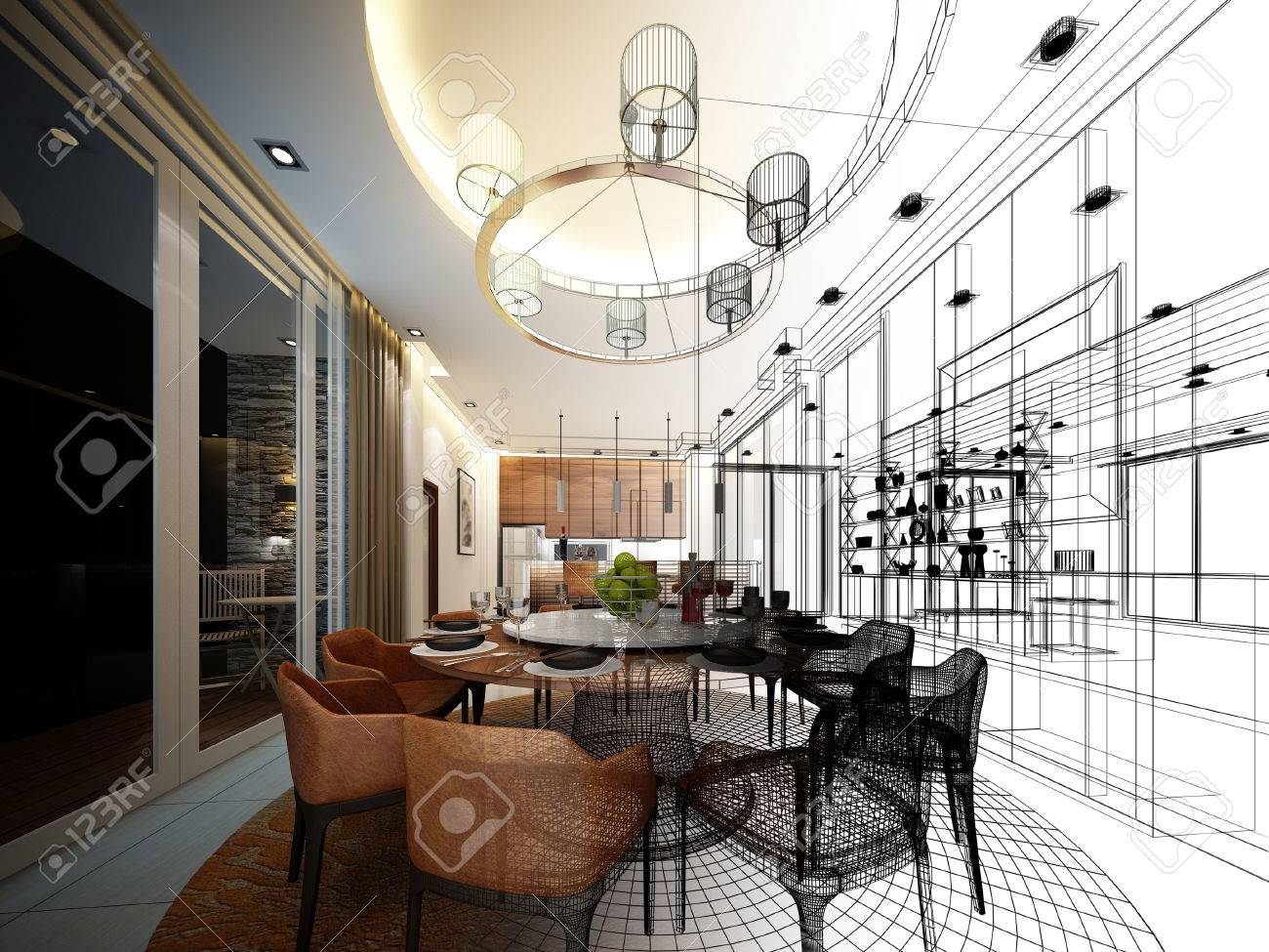 abstract sketch design of interior dining room - 48616205