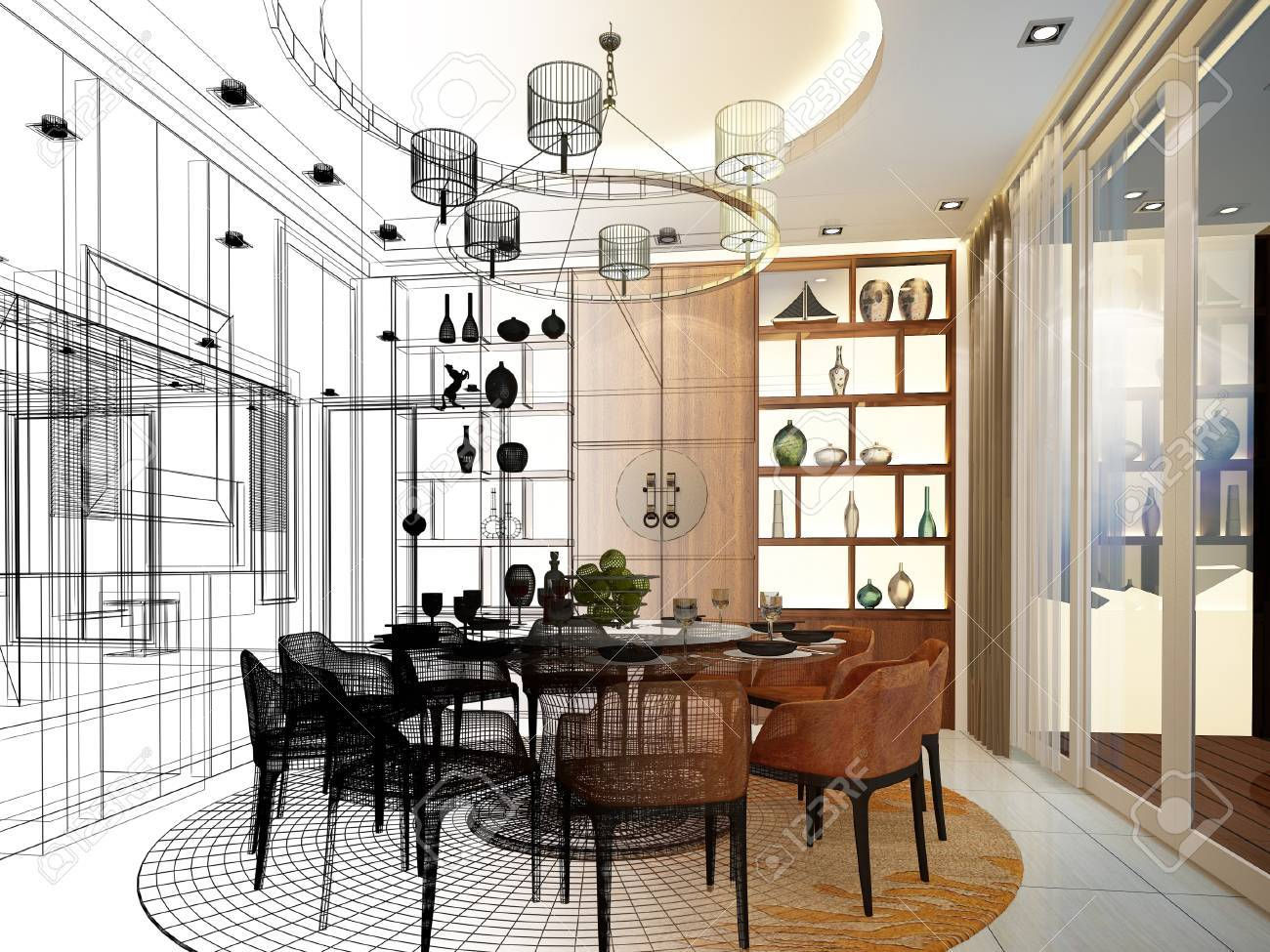 Abstract Sketch Design Of Interior Dining Room Stock Photo Picture