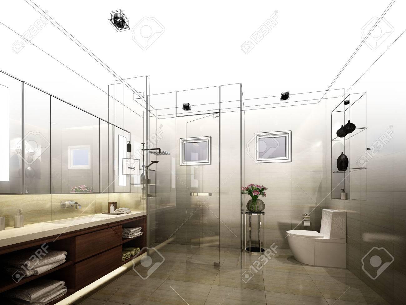 abstract sketch design of interior bathroom - 50113430
