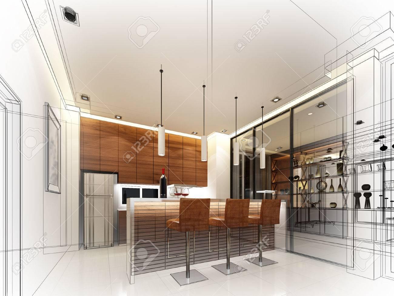 abstract sketch design of interior kitchen - 50113432