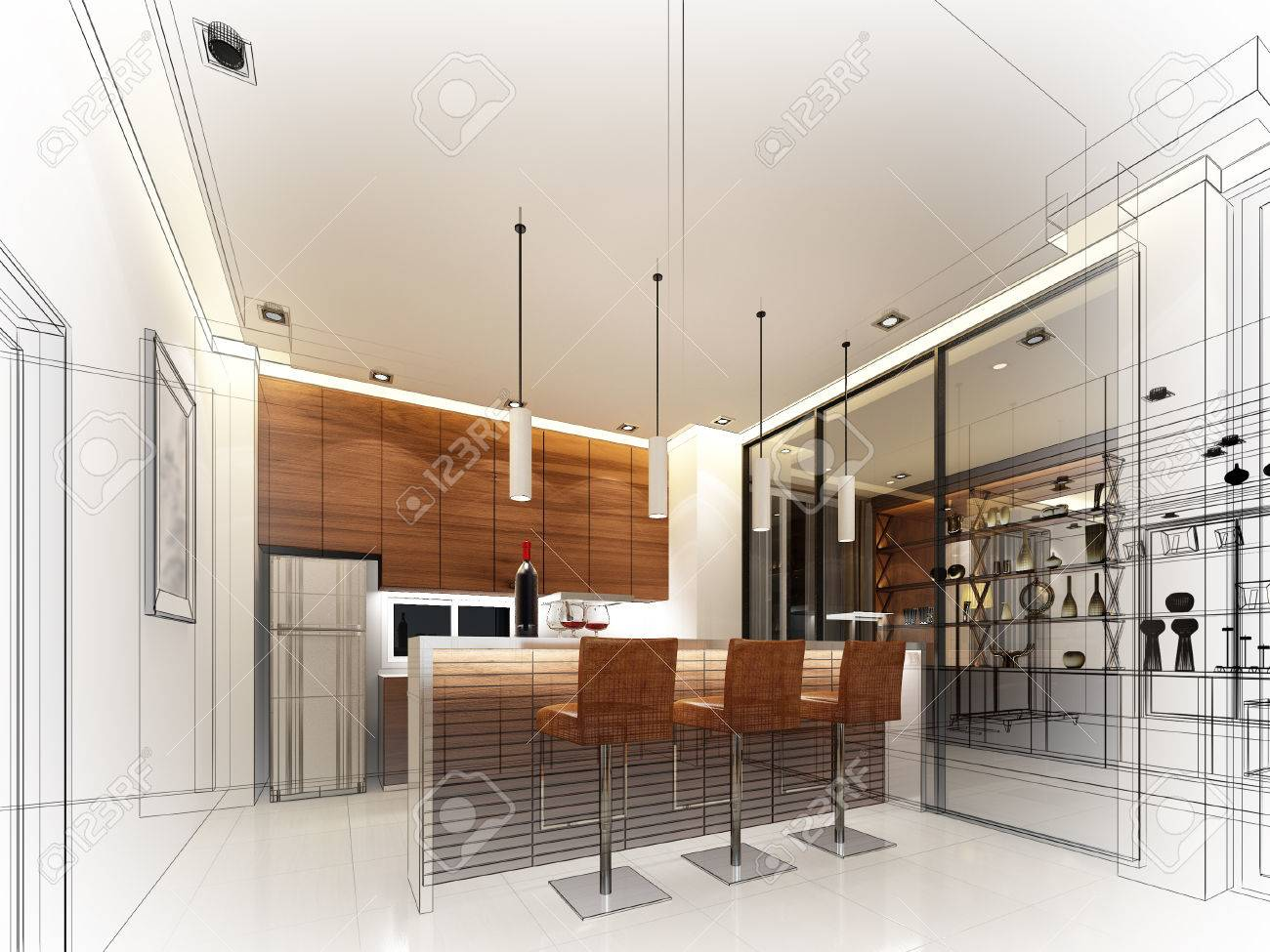 Abstract Sketch Design Of Interior Kitchen Stock Photo Picture And Royalty Free Image Image 50113432