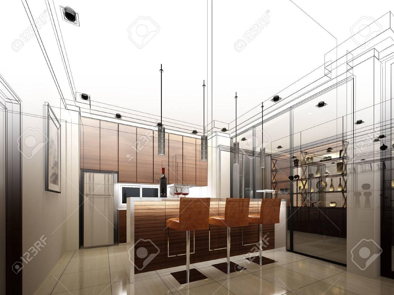 abstract sketch design of interior kitchen - 50113408