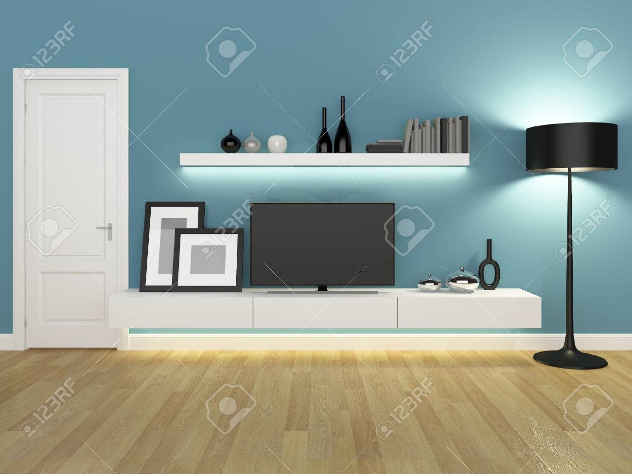 blue living room with tv stand and bookcase - rendering - 50113381