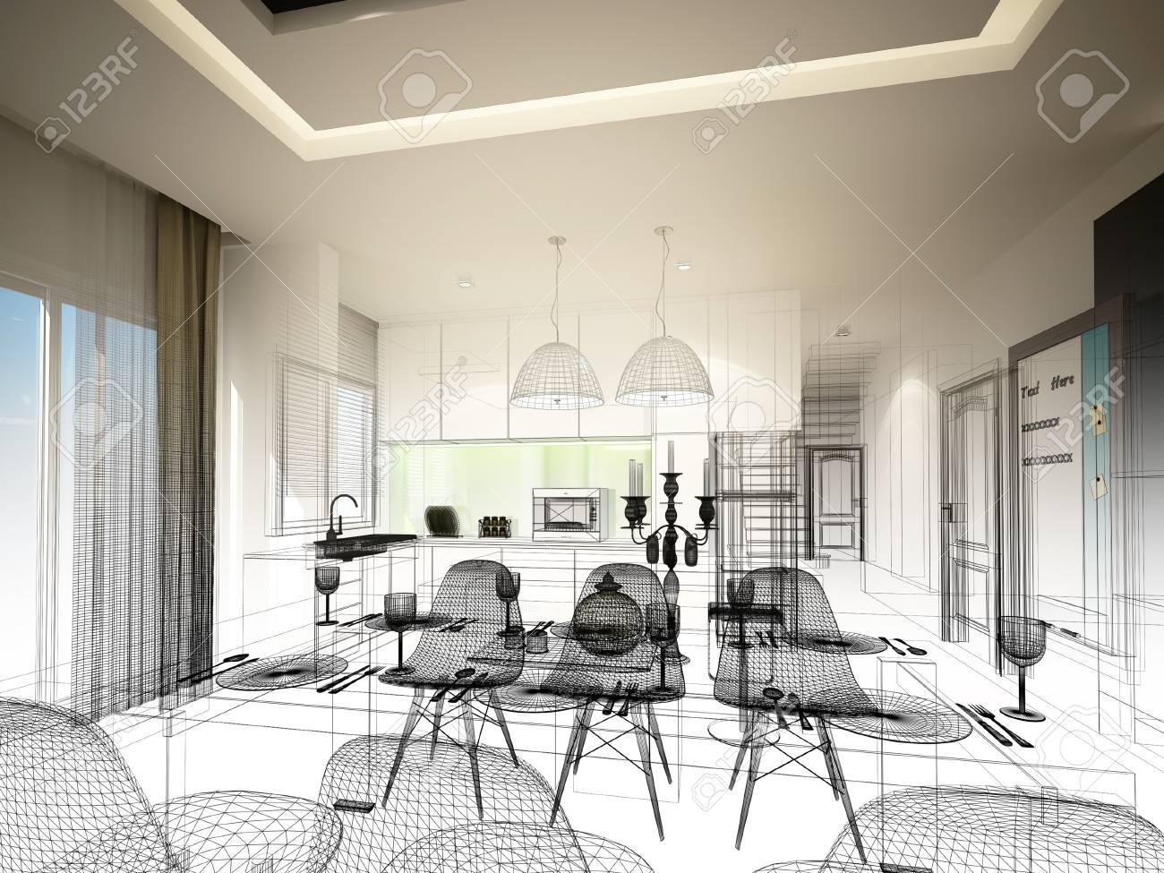Diseño de dibujo abstracto de entre comedor y cocina, 3d