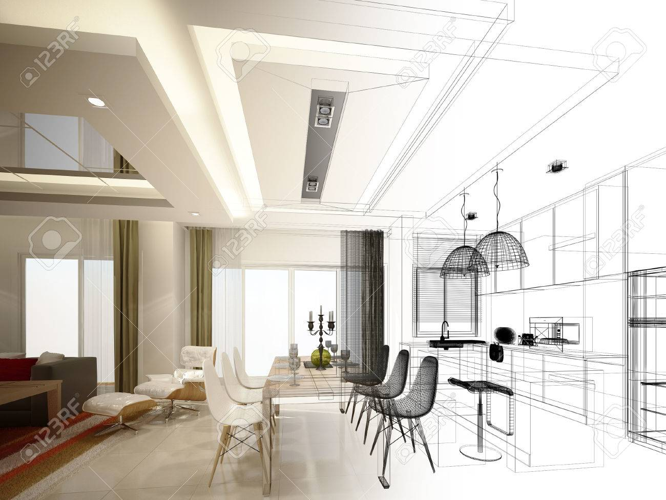Diseño De Dibujo Abstracto De Entre Comedor Y Cocina, 3d Fotos ...