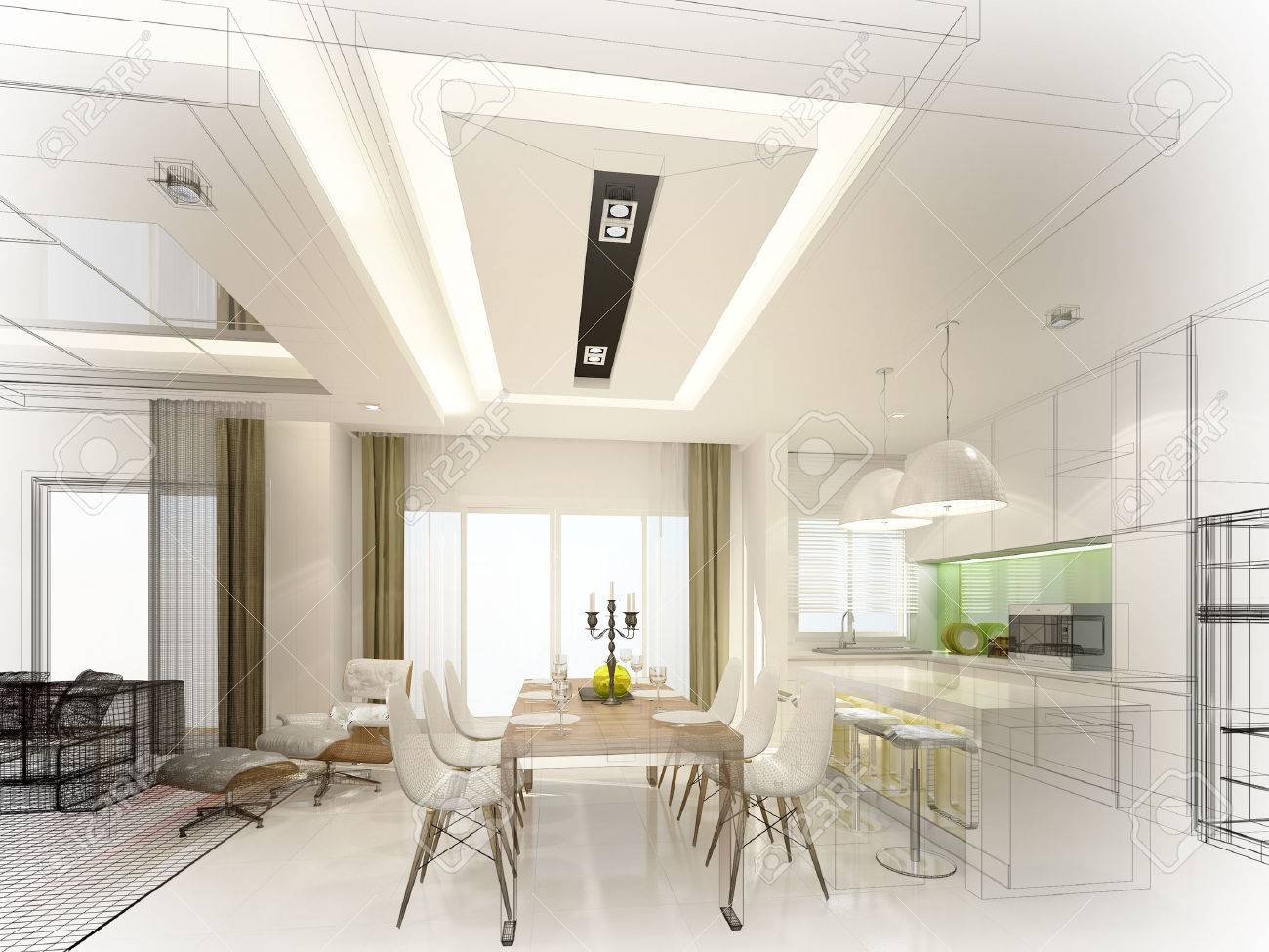Diseño De Dibujo Abstracto De Comedor Interior Y Cocina, 3d Fotos ...