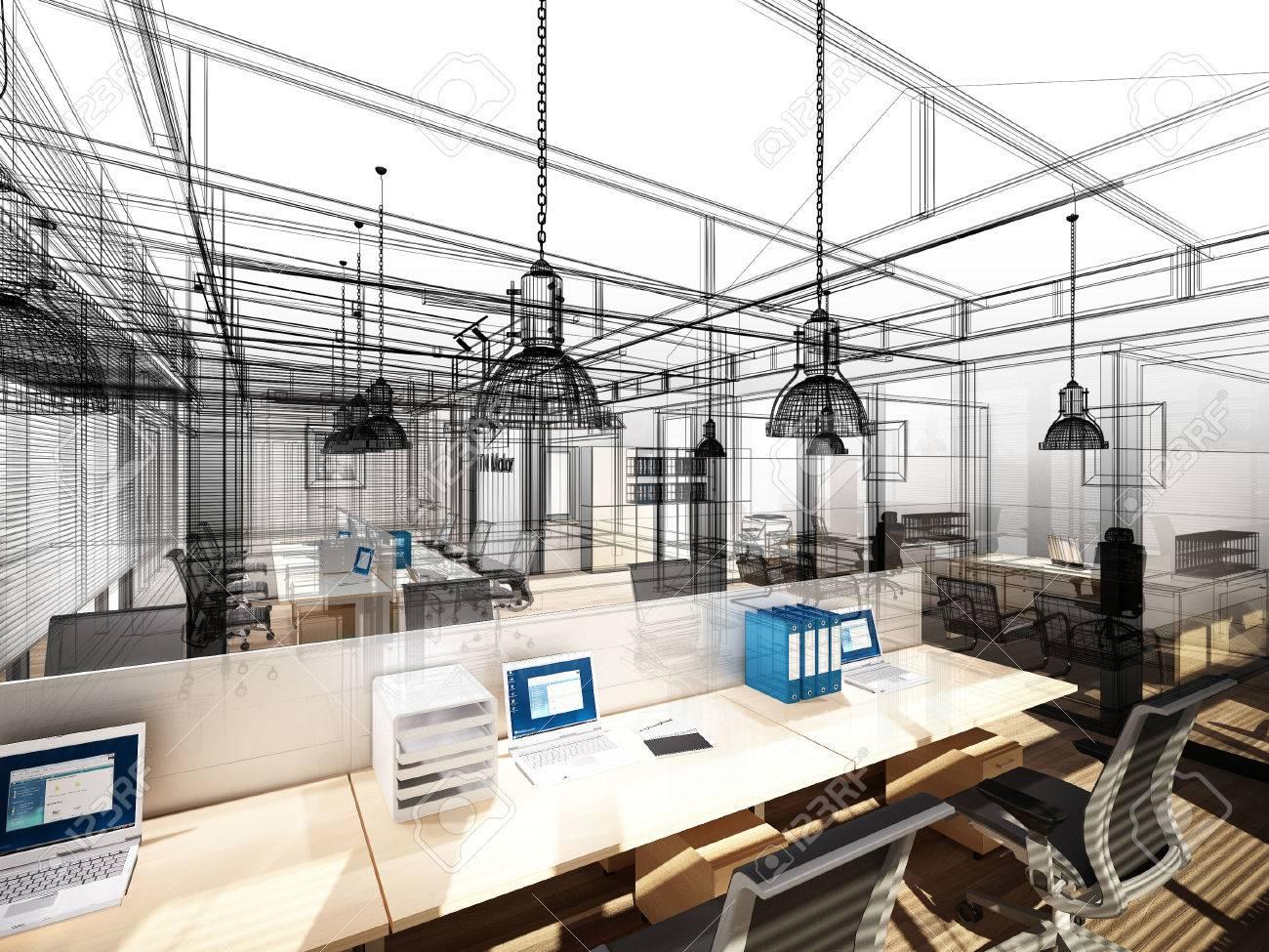 sketch design of interior office, 3d interior wire frame - 60619613