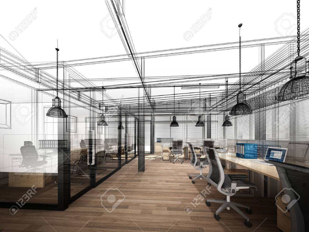 sketch design of interior office, 3d interior wire frame - 60619624