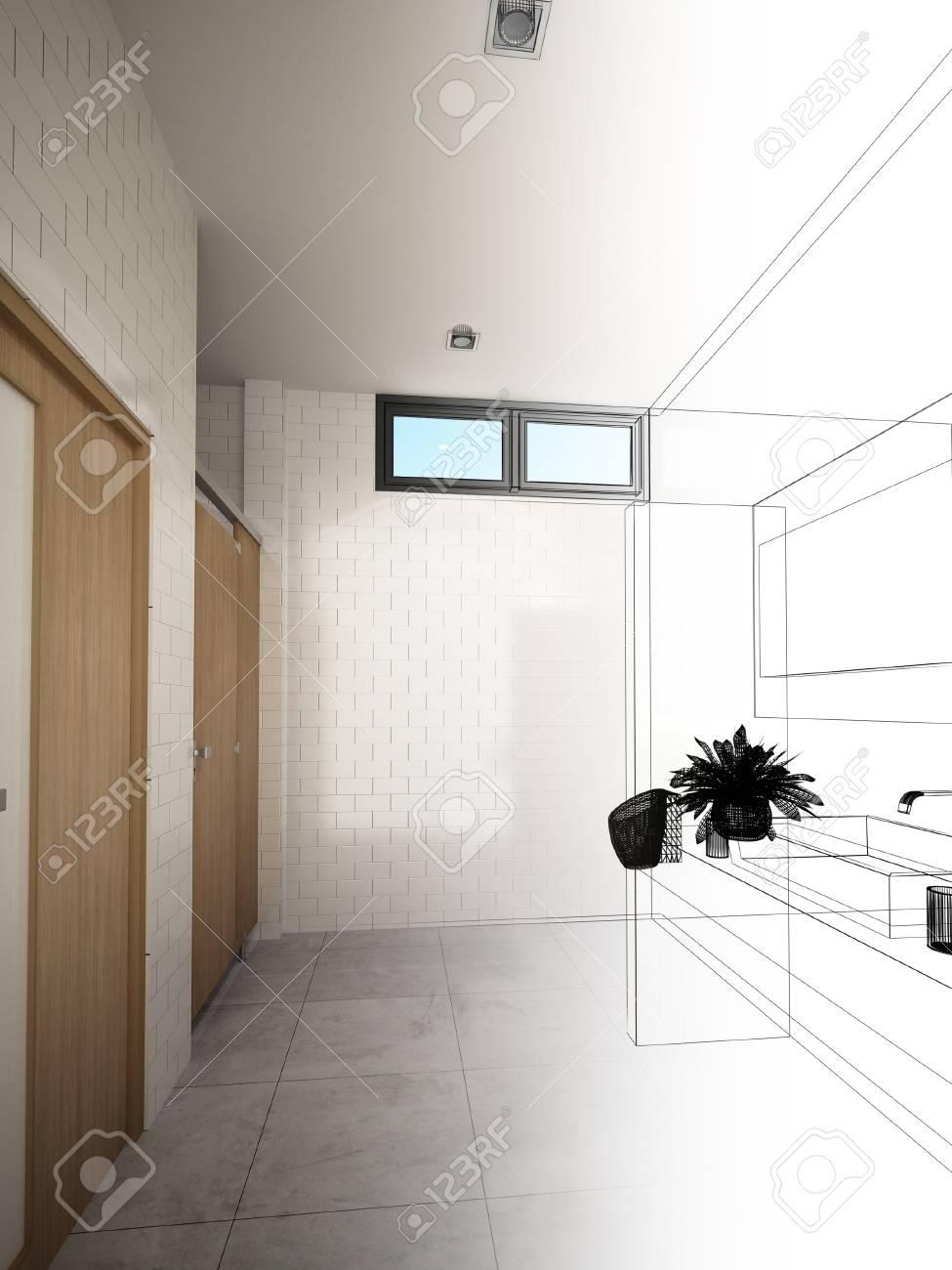 Abstract Sketch Design Of Interior Bathroom ,3d Rendering Stock ...