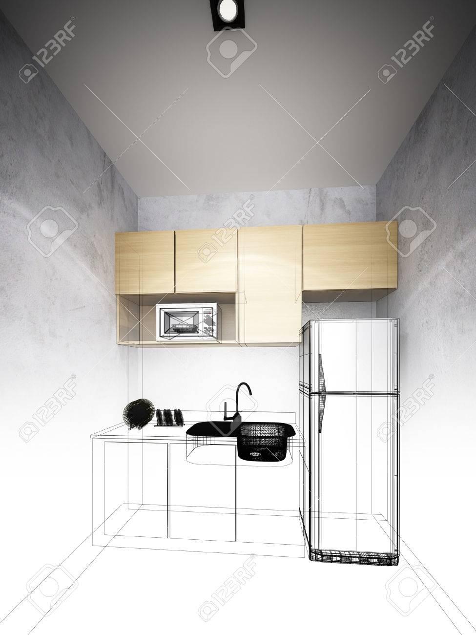 Disegnare La Cucina In 3d. Interesting Cucina D Dal Disegno D With ...