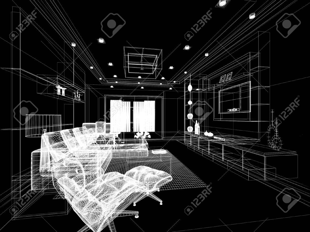 Sketch Design Of Living ,3d Wire Frame Rendering Stock Photo ...