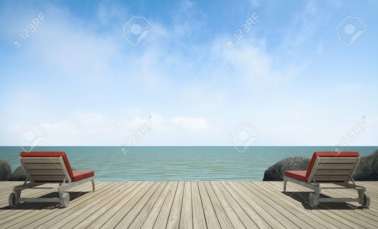 Sofá Cama En La Terraza De Madera En Vistas Al Mar La Imagen 3d