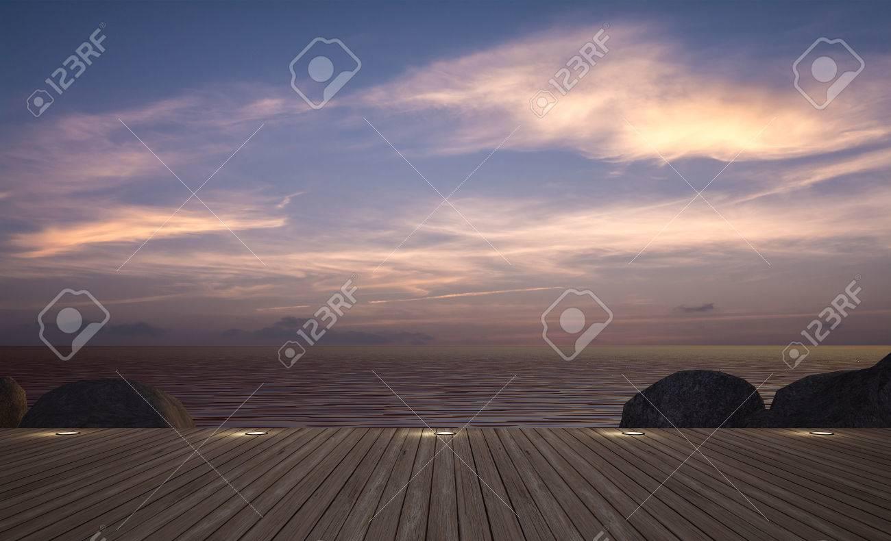 Sofá Cama Con El Paraguas En La Terraza De Madera Con Vistas Al Mar En El Crepúsculo Imagen Representación 3d