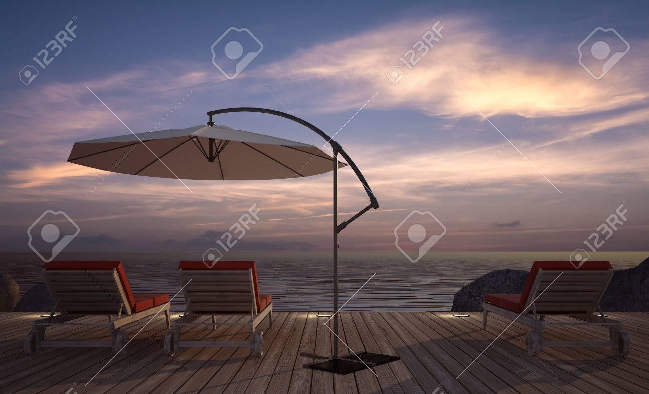 Sofá Cama Con El Paraguas En La Terraza De Madera En El Crepúsculo Vista Al Mar La Imagen De La Representación 3d