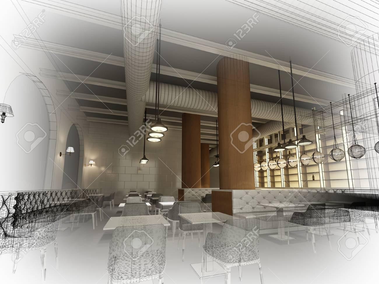 Restaurant Interieur Design.Sketch Design Of Interior Restaurant 3d Rendering