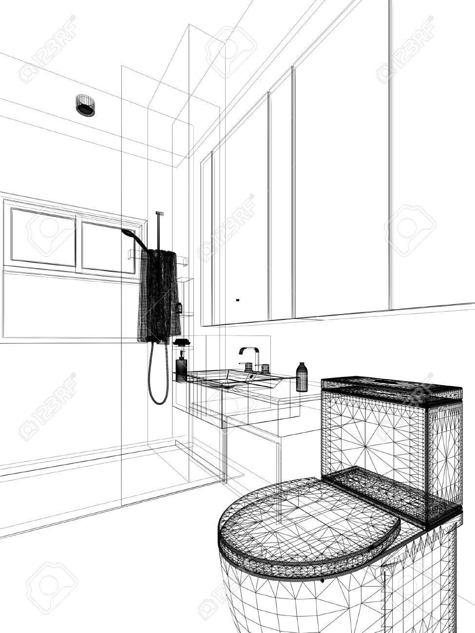 Dessin Salle De Bain dessin abstrait de la salle de bain intérieure