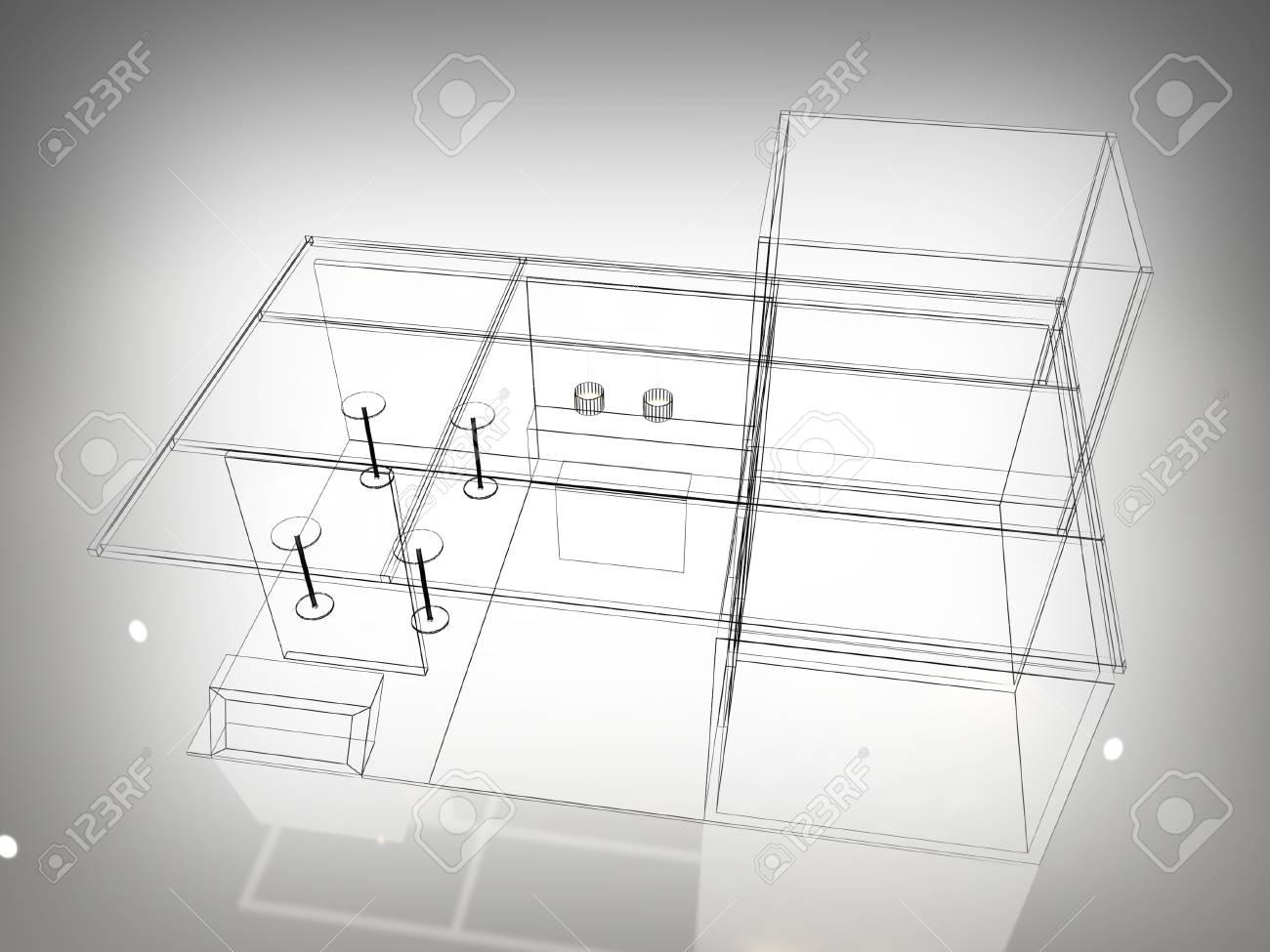 sketch design of exchibition kiosk, 3d rendering