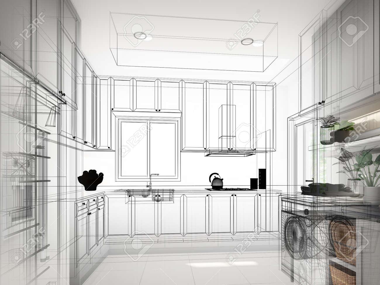 abstract sketch design of kitchen room ,3d rendering - 159218572