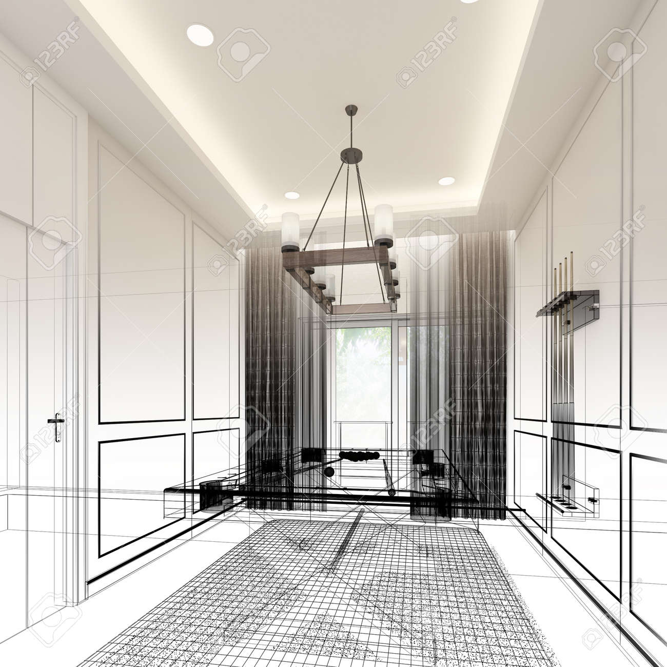 snooker room interior design. 3d rendering - 165960336