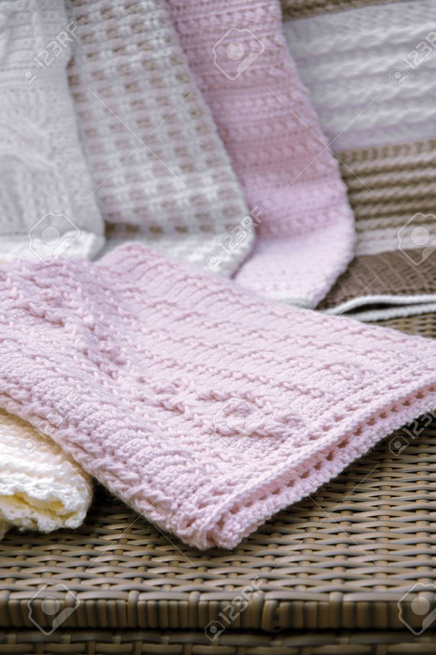 Crochet Cable Knit Baby Blanket On Sofa Stock Photo Picture And Royalty Free Image Image 42088773