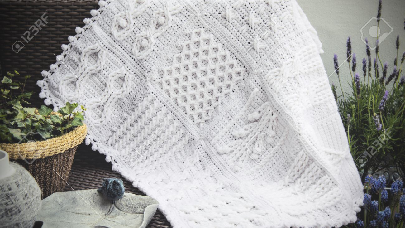 Crochet, Cable Knit Afghan Baby Blanket In White On Sofa With ...