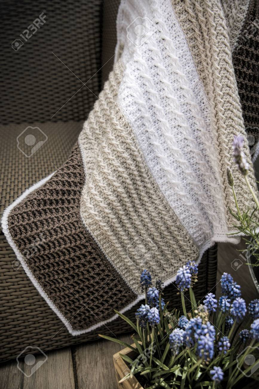 Crochet Cable Knit Baby Blanket In Cream White And Brown Colour Stock Photo Picture And Royalty Free Image Image 42088776