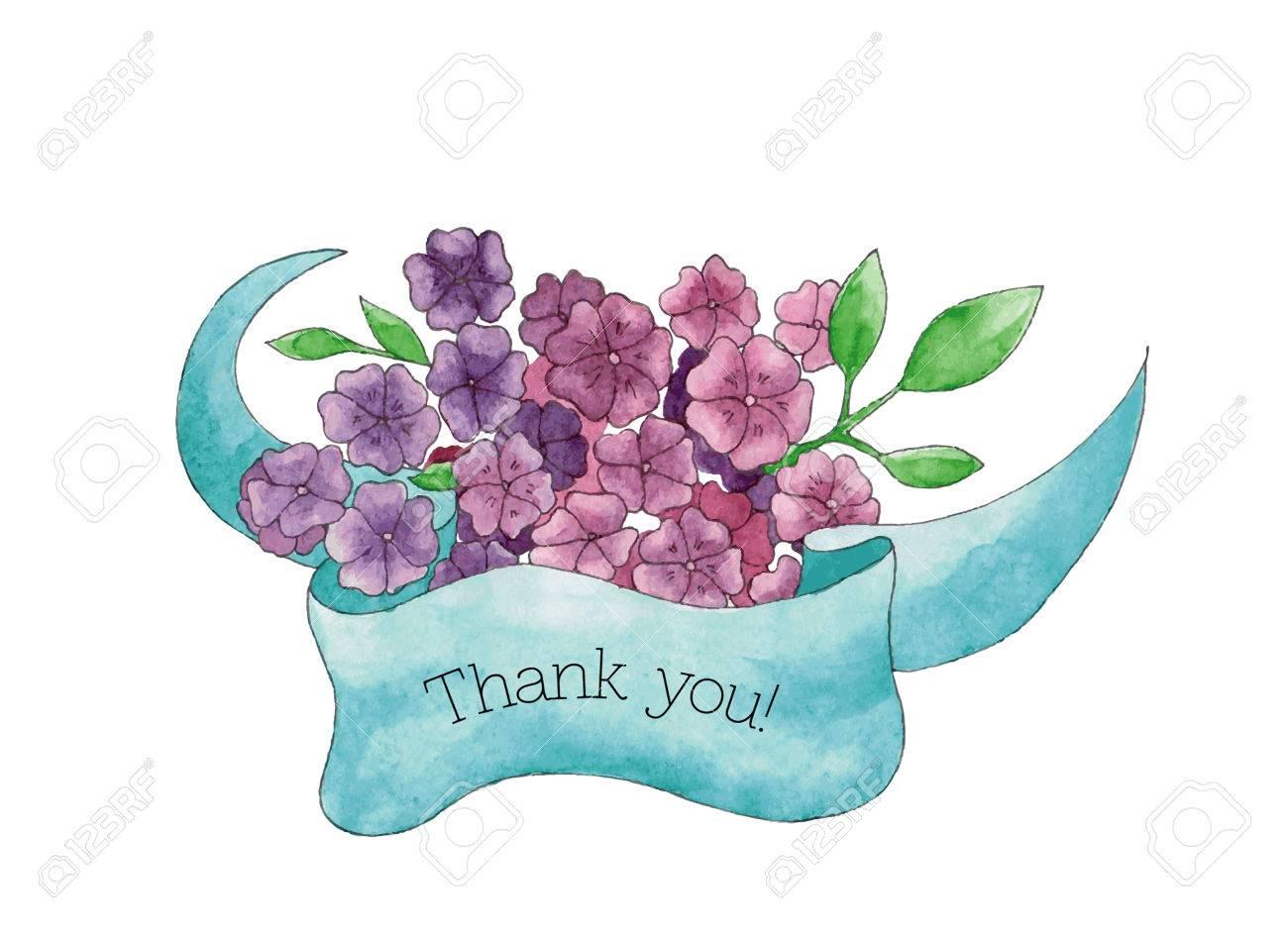 Je Vous Remercie Carte Avec Bouquet Dessiné Main De Fleurs Violettes Avec Un Ruban Bleu Pour Votre Conception Personnelle Pour Les Cartes De Voeux
