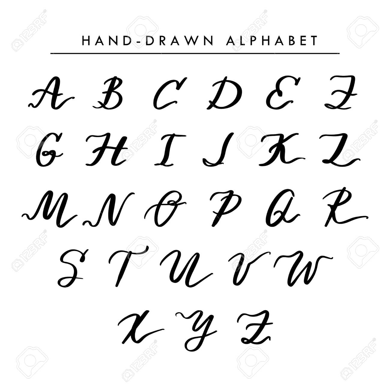 Hand written vector alphabet, cursive capital letters for logo..