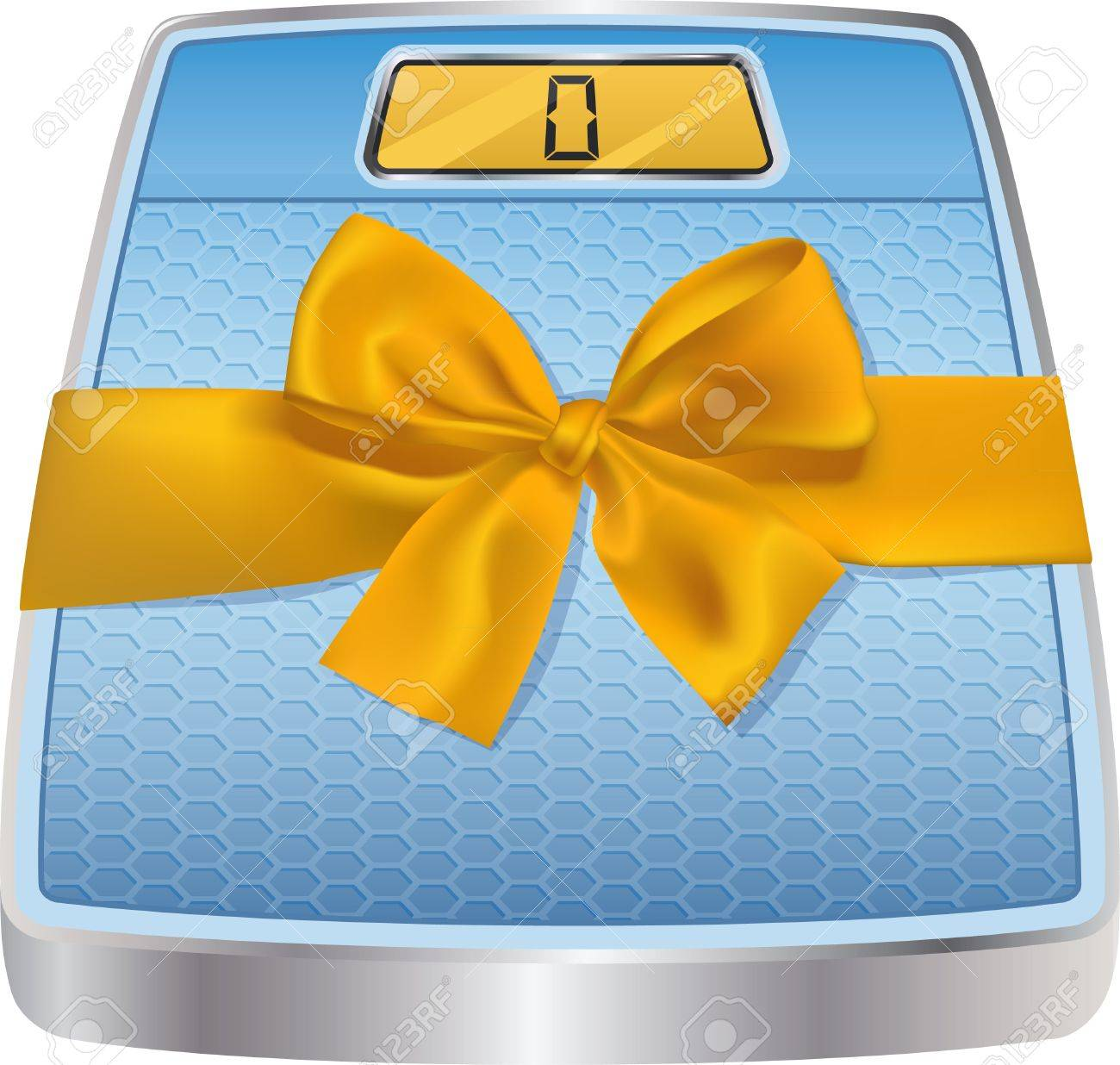 Bathroom Gift Illustration Of Digital Bathroom Scale With Yellow Gift Bow