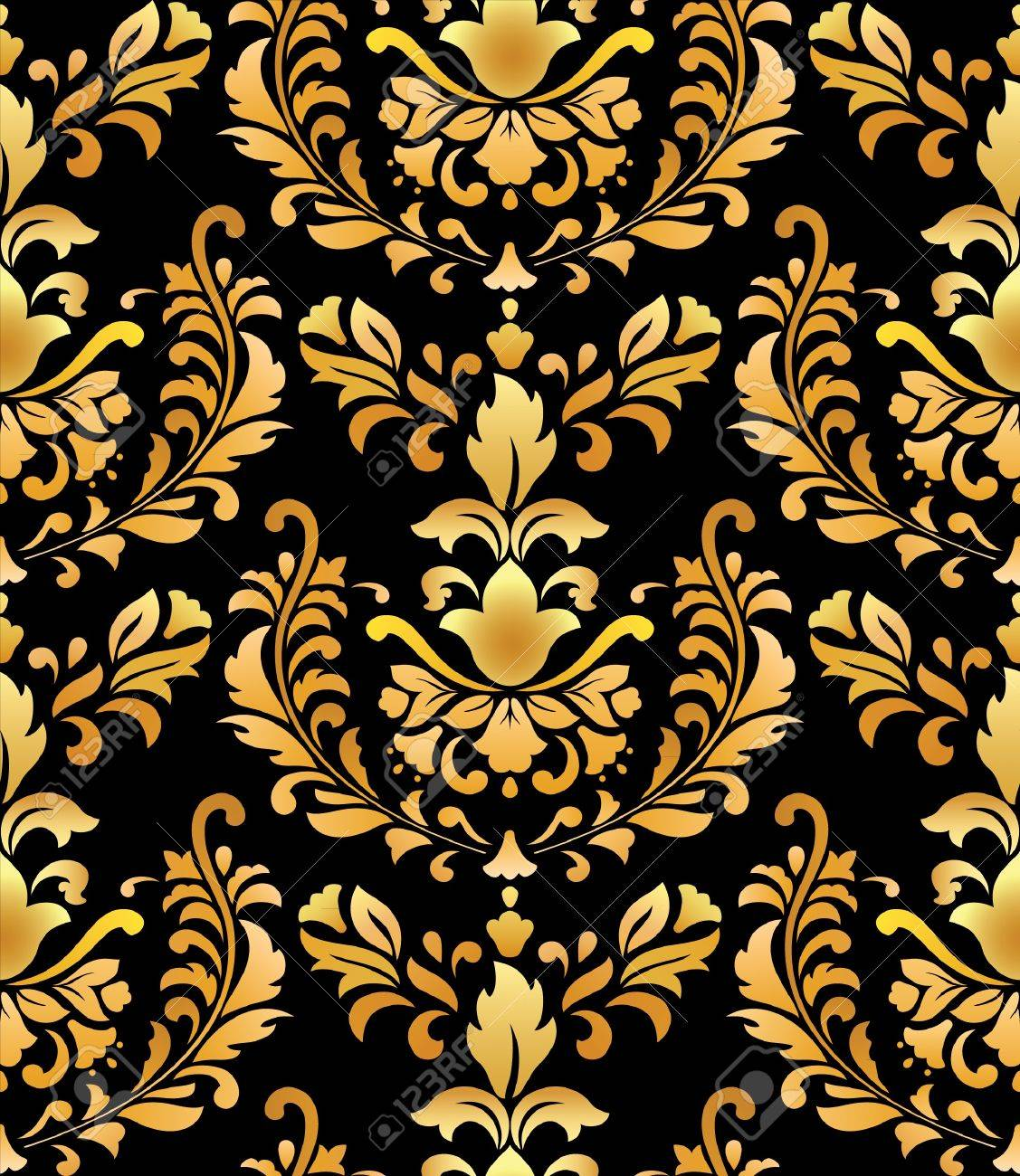 Seamless; gold on black; retro background Stock Vector - 9221546