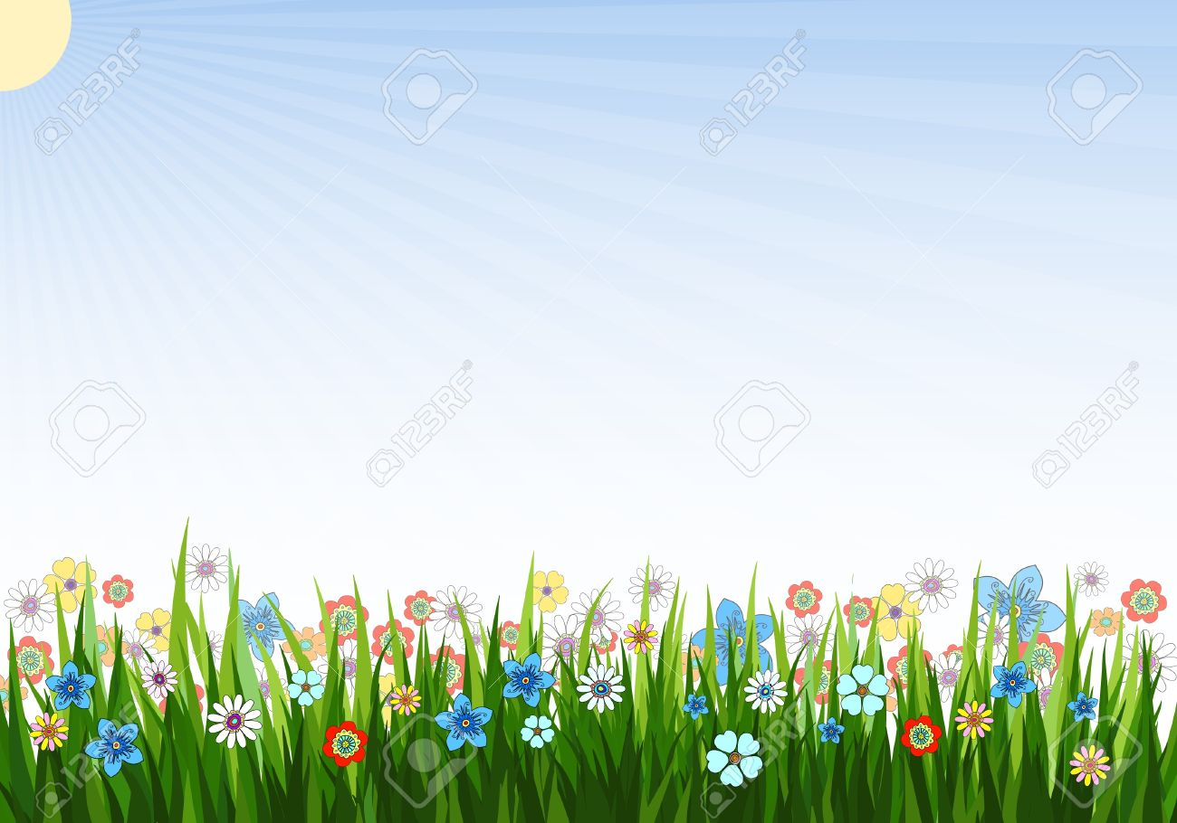 Vector Illustration Of A Spring Background With Grass Flowers