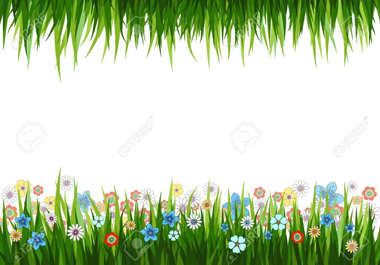 草と花と自然の背景のベクトル イラストのイラスト素材ベクタ Image