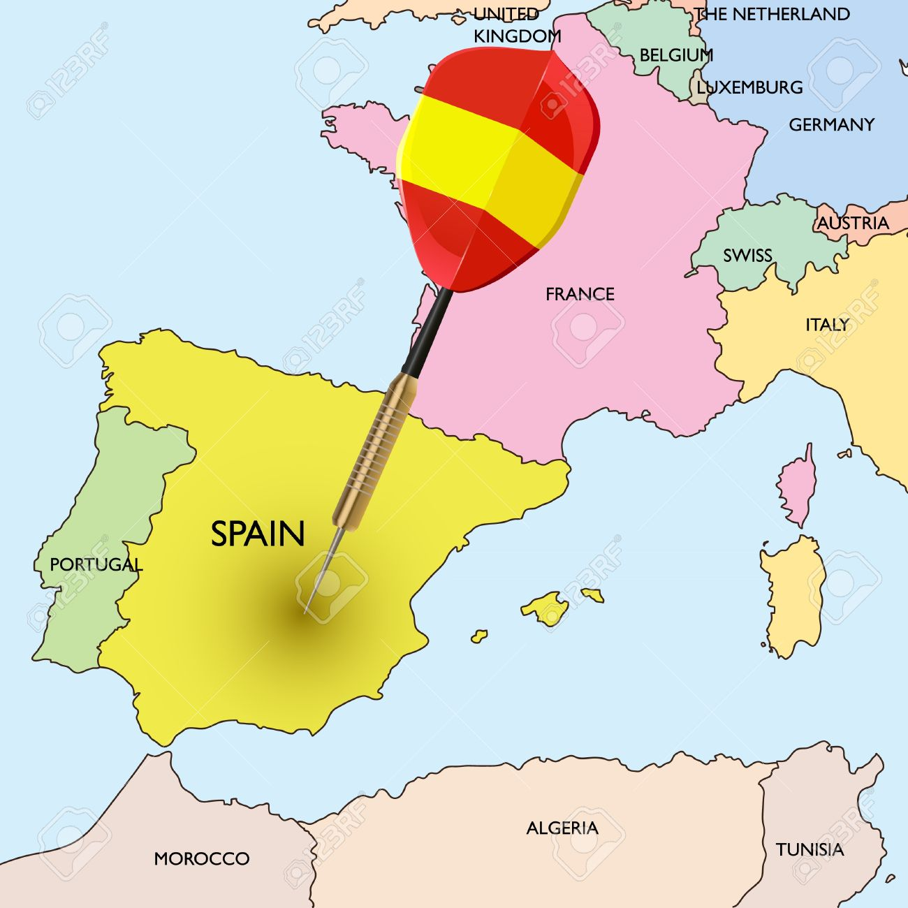 Map Of Spain And Europe.Target Spain Dart Hitting In Spain On The Europe Map