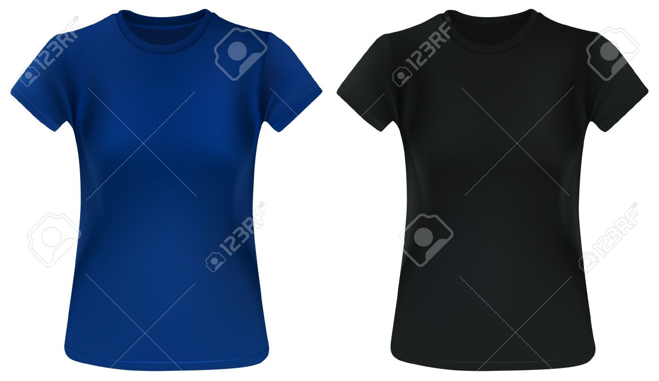 Dos Mujer Camisetas, Azul Y Negro, Plantilla De Diseño ...