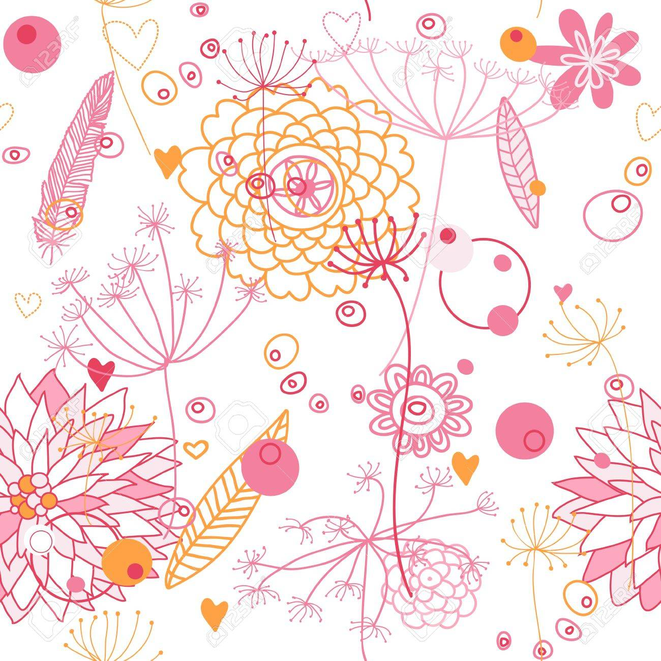 Vector, seamless abstract backgroung with flowers and plants. Endless floral pattern. Seamless pattern can be used for wallpaper, pattern fills, web page background, surface textures. Stock Vector - 10594599