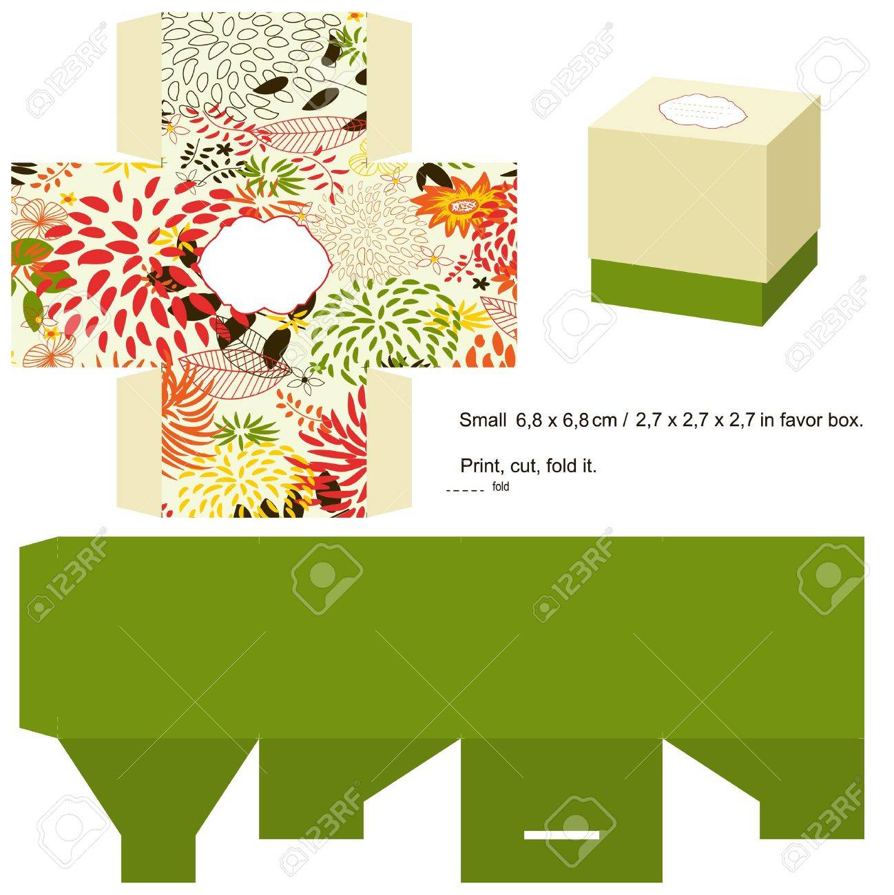 Favor Box Die Cut. Floral Pattern. Empty Label. Royalty Free ...