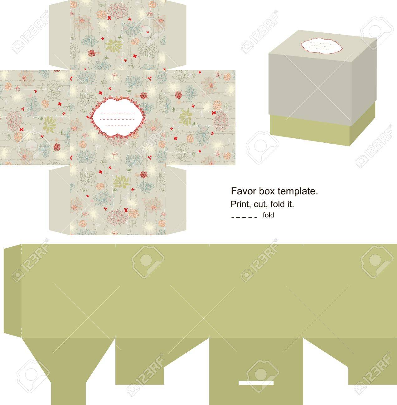 favor box die cut floral pattern empty label royalty free