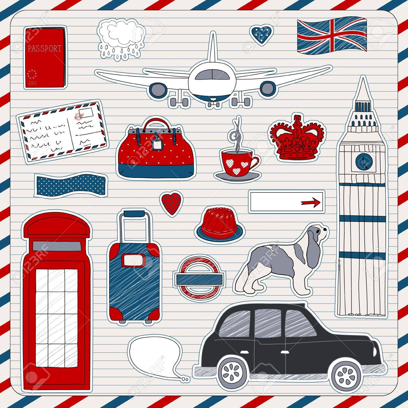 set of the doodle sketches london travel theme royalty free
