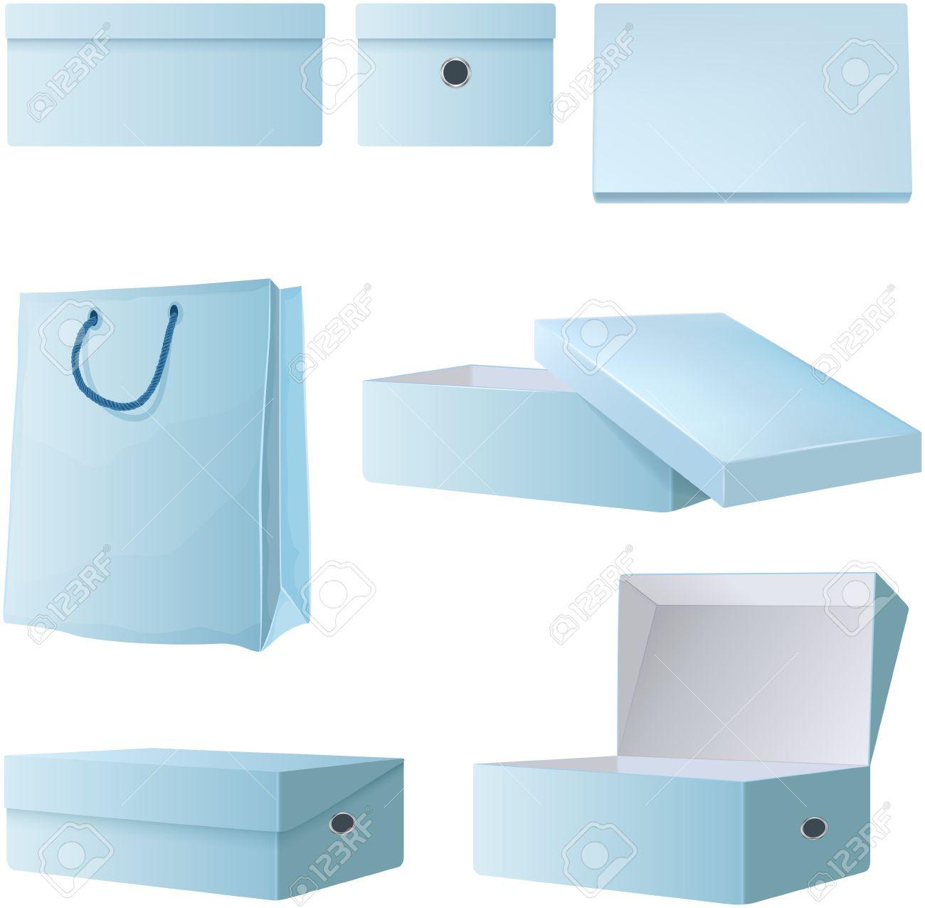 Conjunto De Cajas De Cartón Vacías Abiertas Y Comerciales De ...