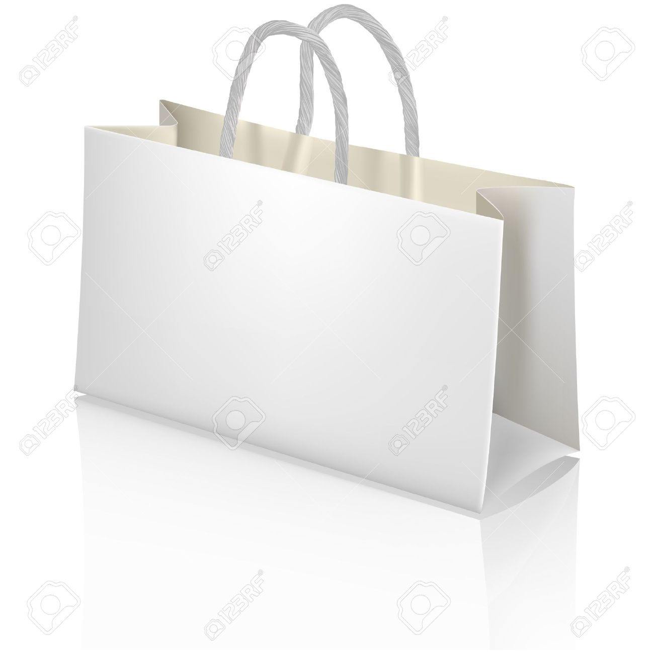 White Paper Shopping Bag Designer Template Royalty Free Cliparts ...